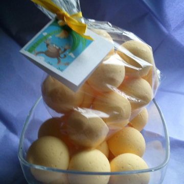 14 bath bombs in Monkey Farts fragrance with Shea, Mango and Cocoa butter, gift bag bath fizzies, great for kids...and adults too