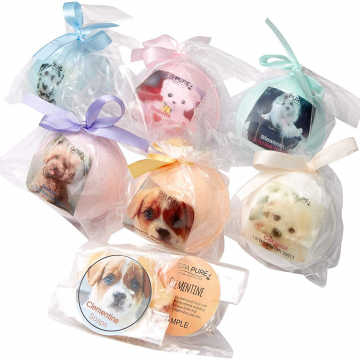 Adorable Kids Bath Bomb Gift Set, 6 Bath Bombs with (ADOPT-A-PUPPY) toys inside, natural ingredients, will not stain the tub