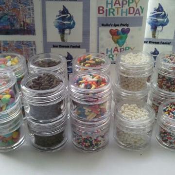 8 Assorted Sprinkles for Ice Cream Facials 1/4 oz each