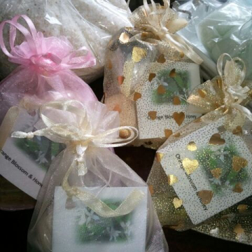 Lot of 4 (U-pick scents) 1/3 oz roll-on perfume with 2 bath bombs matching scent in organza -Teacher/office gifts