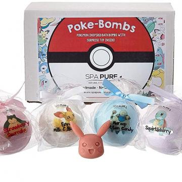 POKEMON Bath Bombs For Kids With Surprise Toys Inside (Pokemon) USA made, Natural, Organic XL 5 oz Gift Set For Girls/Boy